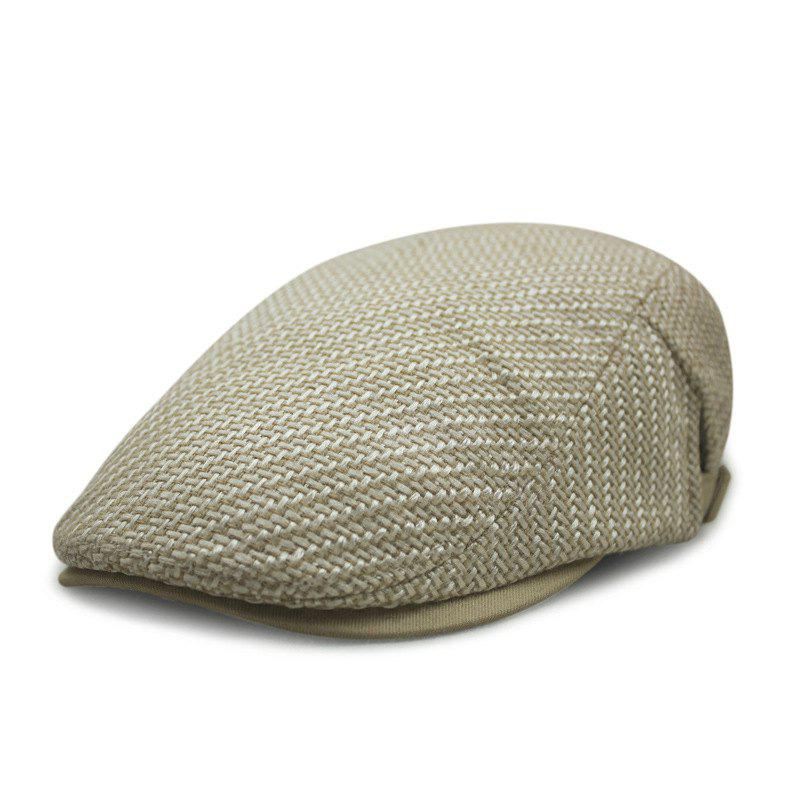 Outfit Autumn and winter cotton and linen woven beret casual trend forward cap + adjust