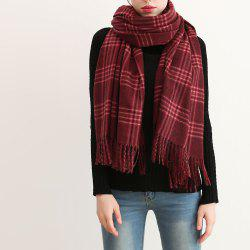 Lattice Wool Warm Winter Oversize Women Long Tassel Scarf Lady Shawl -