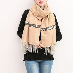 Letter Scarf Women Fashion Love Sweet Thick Cashmere Warm Winter Shawl -