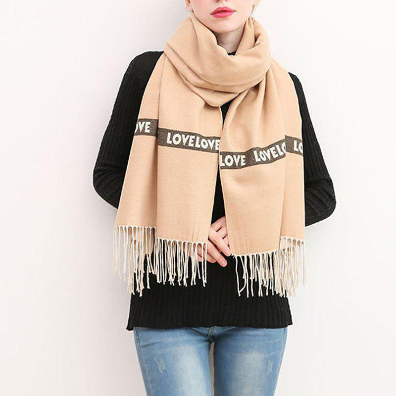 Shop Letter Scarf Women Fashion Love Sweet Thick Cashmere Warm Winter Shawl