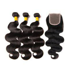 Peruvian Body Wave Human Hair 3 Bundle With Closure Hair Weave With lace Closure -