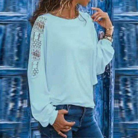 Women'S T-Shirt with Long Hollow Sleeves and Loose Lace