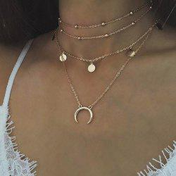 Personnalité populaire Moon Bend Bead Chain Multi Collier - Or