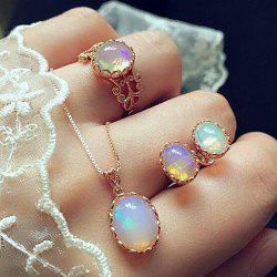 Colorful Jewel Fashion Ear Studs Rings Necklaces Combination Suits -
