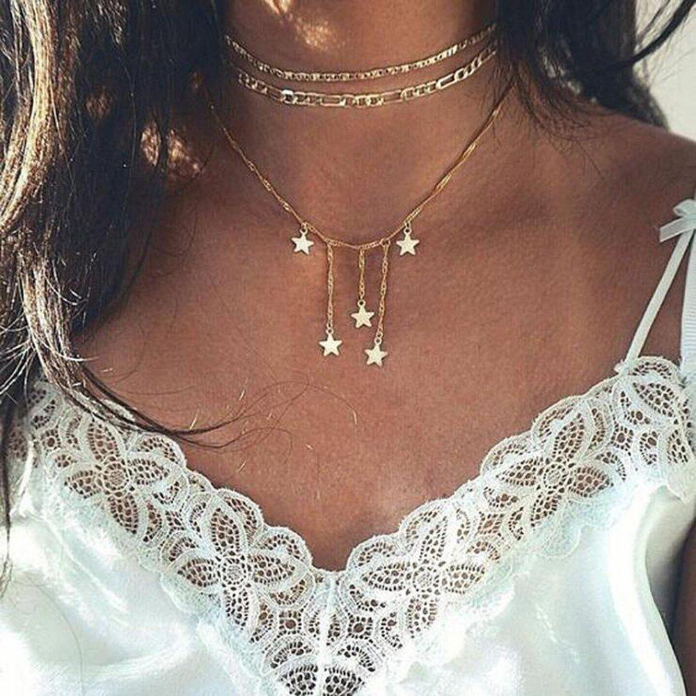 New Ladies Fashion Multi Layer Five Pointed Star Fringed Necklace Set
