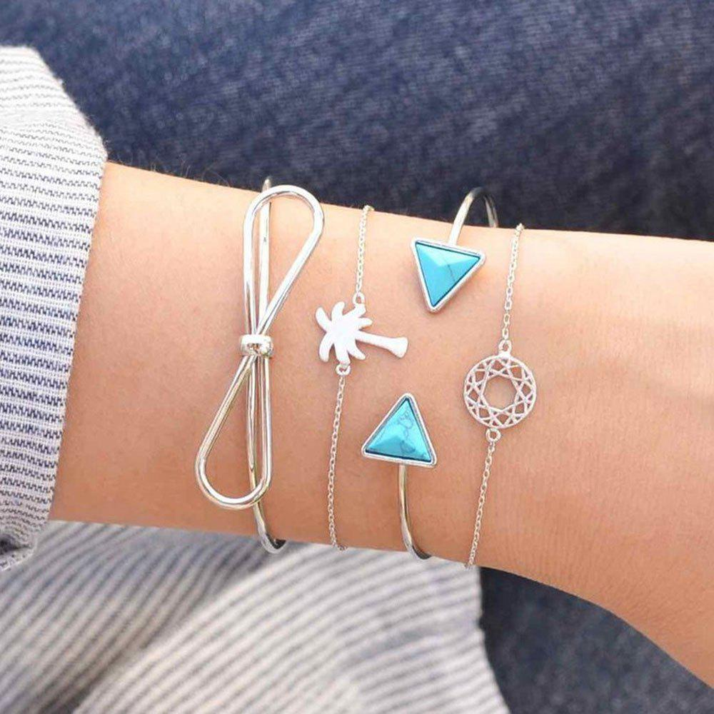 Store Women'S Pop Bracelet Creative Knot Coconut Tree Turquoise Cutout Four-Piece Set