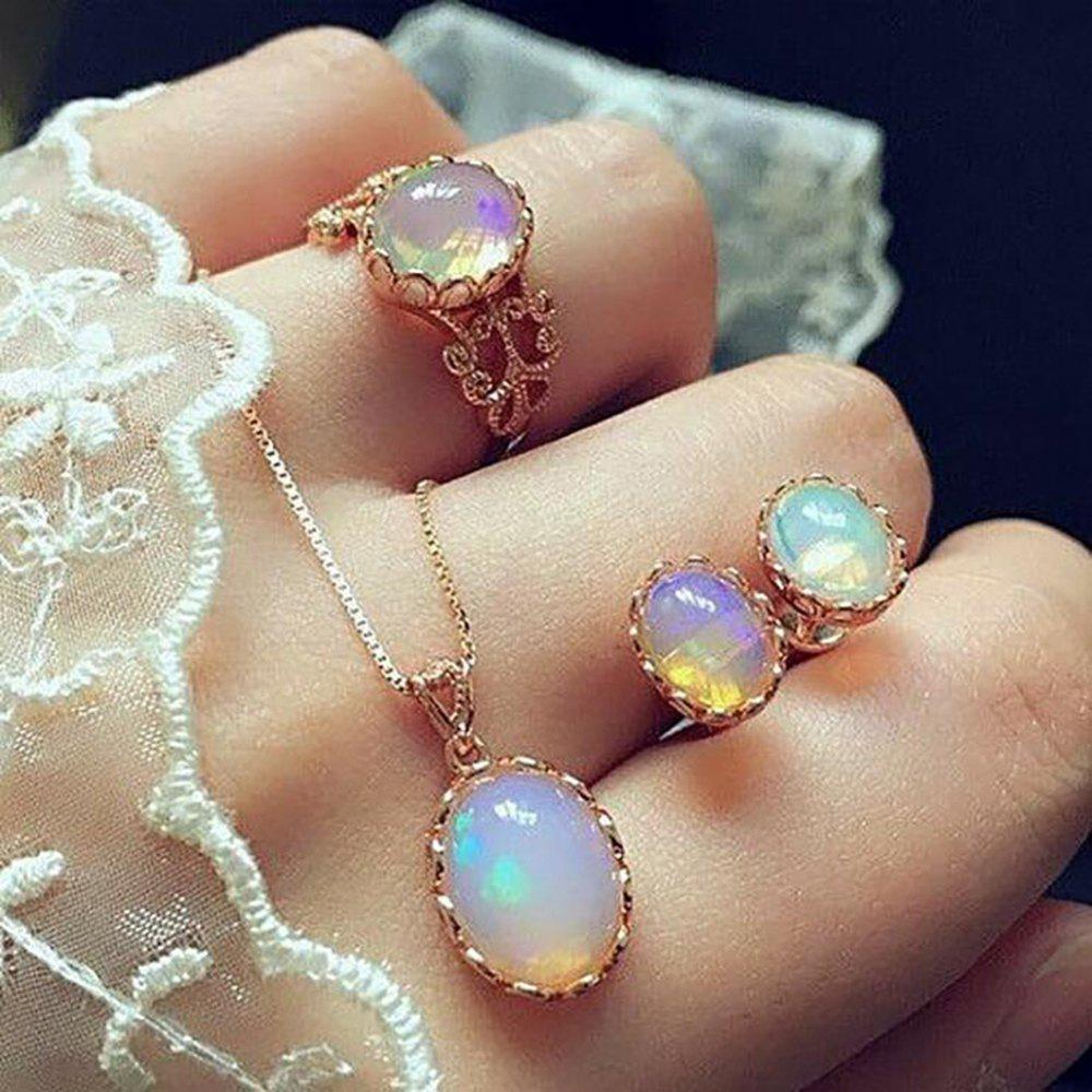 Shop Colorful Jewel Fashion Ear Studs Rings Necklaces Combination Suits