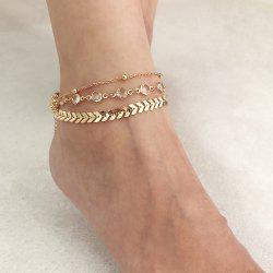 Diamond-Studded Multi-Layer Metal Anklet -