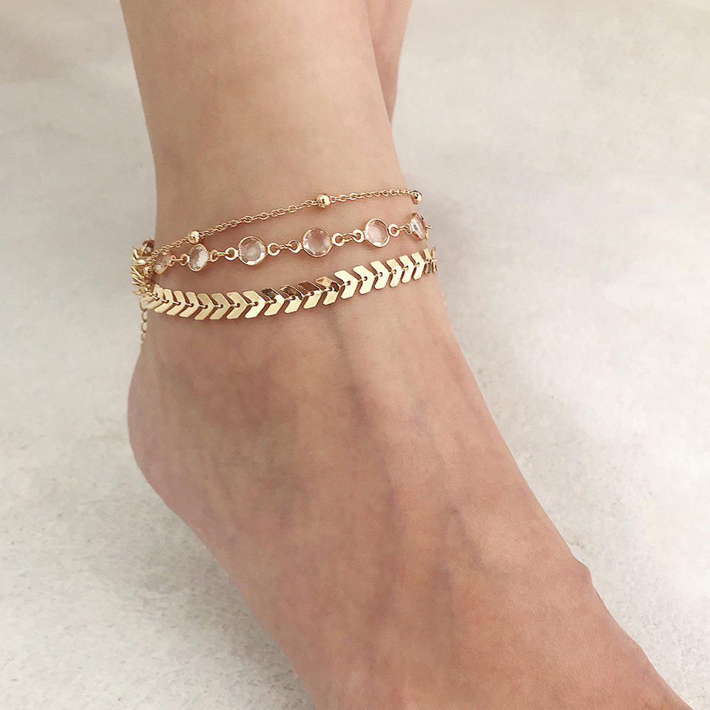 Fashion Diamond-Studded Multi-Layer Metal Anklet