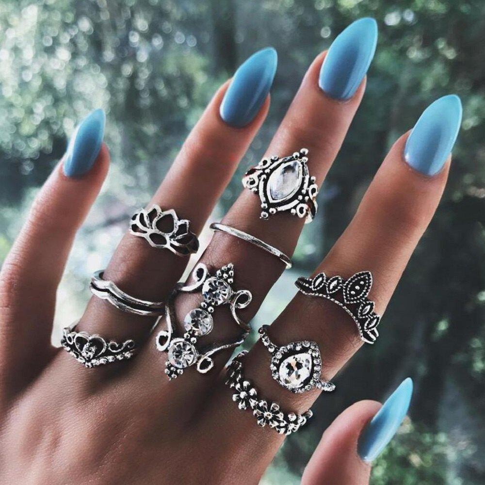 Outfits 9 P/Set Bohemian Crystal Crown Ring Sets for Women  Silver Color Lotus Stone Rin