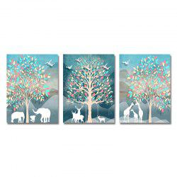 DYC 3PCS Cartoon Animal Silhouette Print Art -