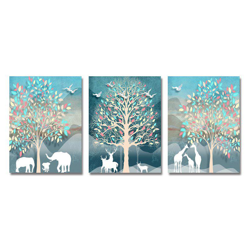 DYC 3PCS Cartoon Animal Silhouette Print Art