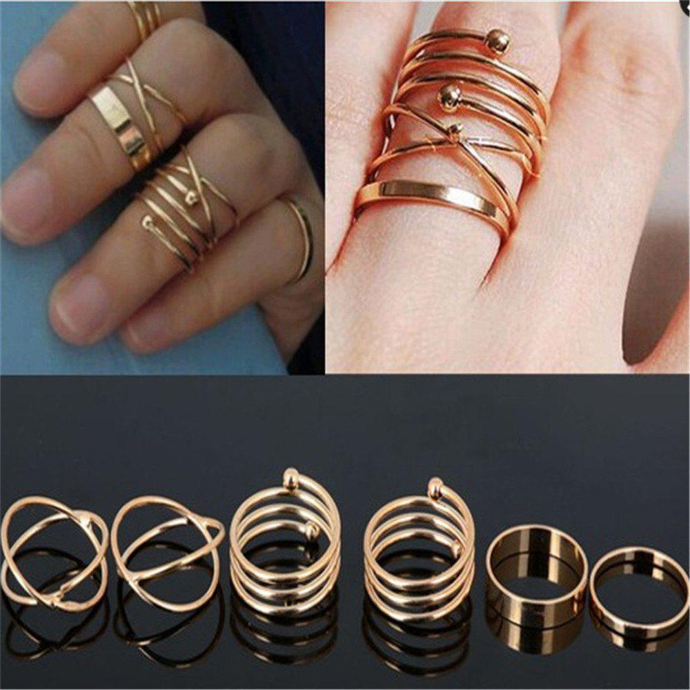Affordable 6Pcs Ladies' Exaggerated Spiral Ring Suits