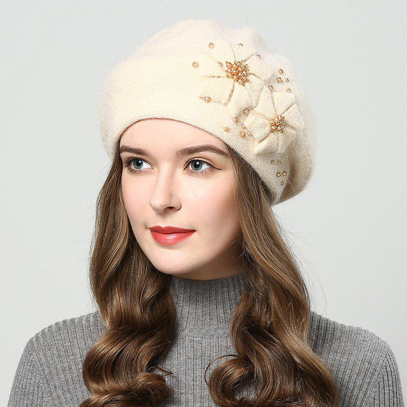 Fancy New Woman Autumn Winter Thicken Very Nice with Pearl Bean Beret Hat