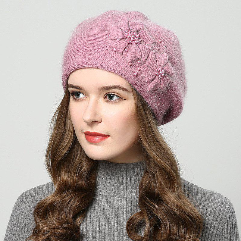 Affordable New Woman Autumn Winter Thicken Very Nice with Pearl Bean Beret Hat
