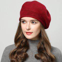 New Woman Fashion Korea Autumn Winter Warm Solid Sweater Beret Hat -