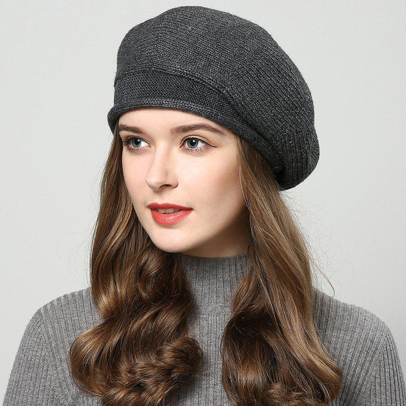 Outfit New Woman Fashion Korea Autumn Winter Warm Solid Sweater Beret Hat