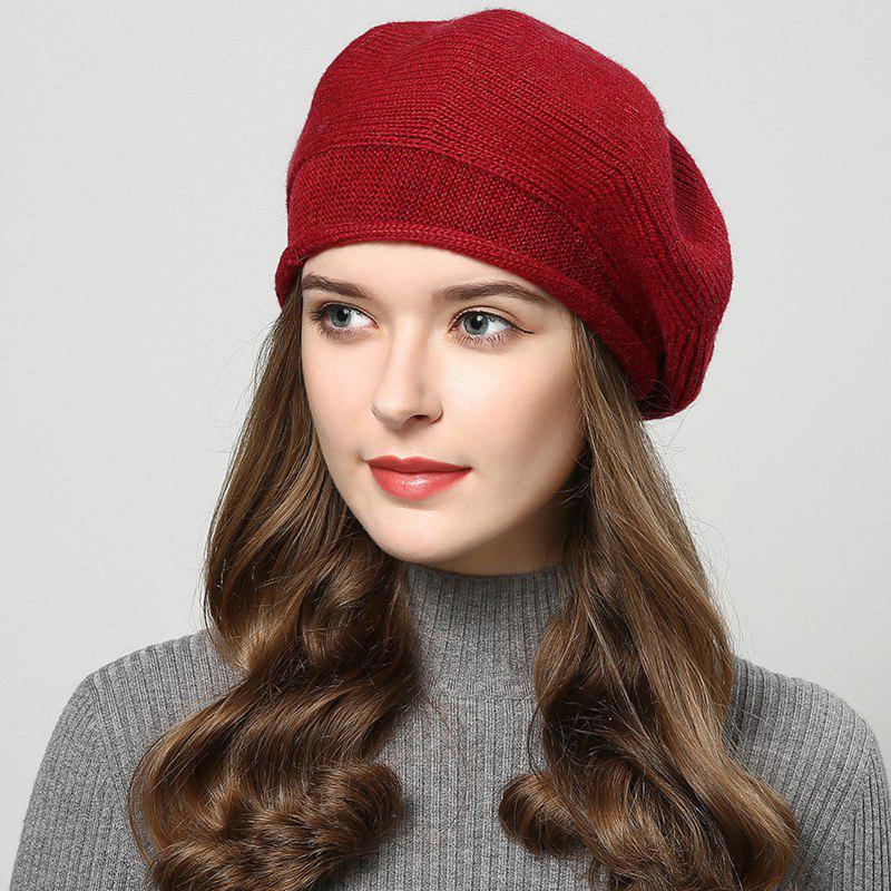 Shop New Woman Fashion Korea Autumn Winter Warm Solid Sweater Beret Hat