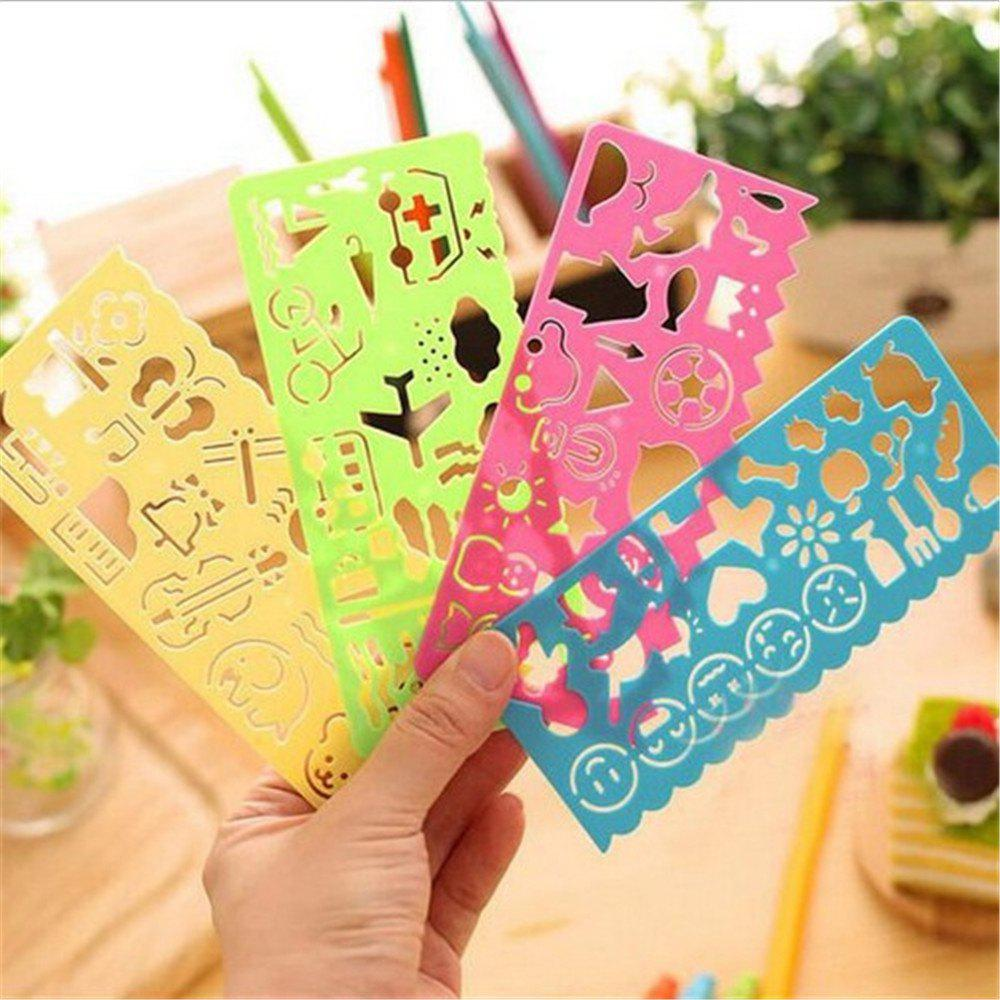 Cheap 4PCS Creative Stationery of Children's Painting Template Ruler