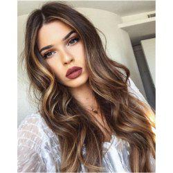 Ms Wig Long Curly Dark Brown Points in The Gradient of Dyeing Hair Synthetic Wig -