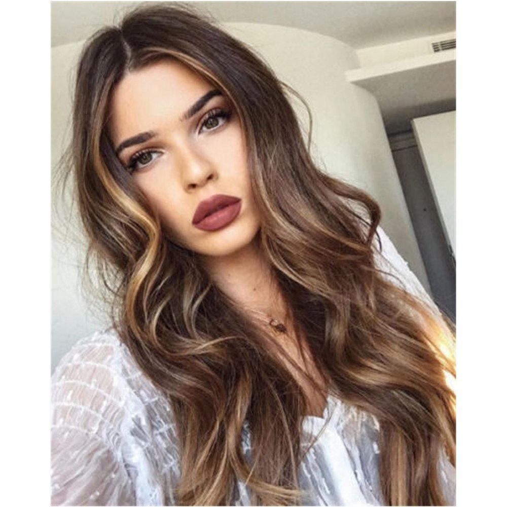 Latest Ms Wig Long Curly Dark Brown Points in The Gradient of Dyeing Hair Synthetic Wig