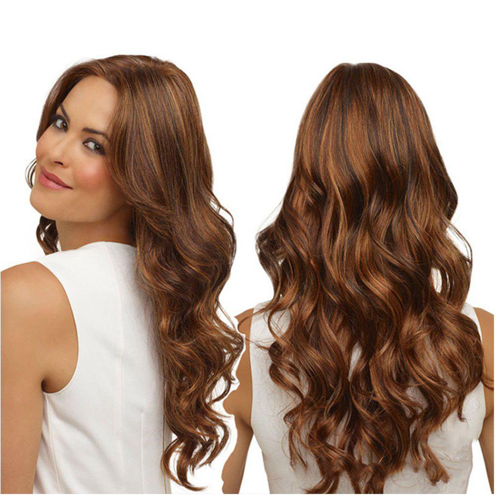 New Dyeing Wig Dark Brown Curly Hair Highlights Gradient Fashion Women Wig