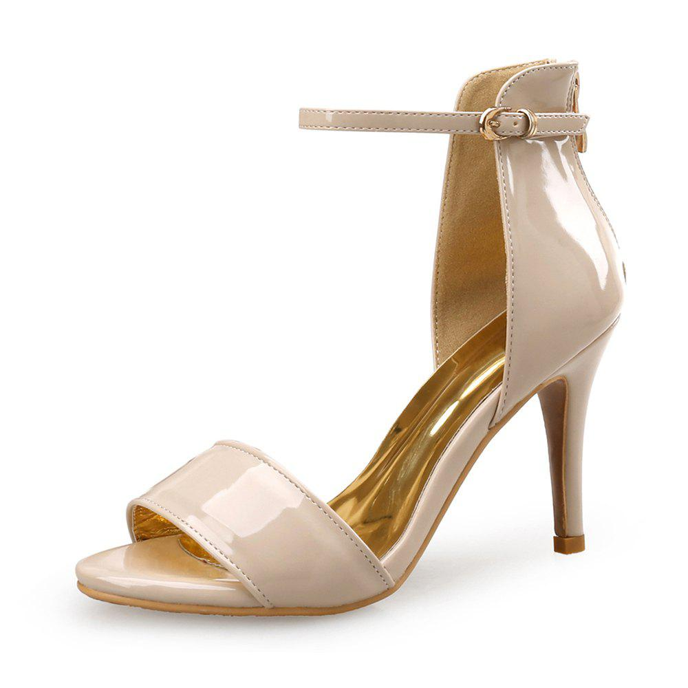 70ed94ada Trendy Simple Patent Leather High Heel Open Toe One Word Buckle Female  Sandals