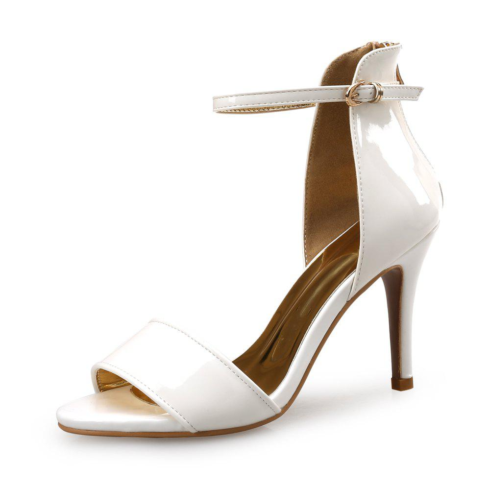 Store Simple Patent Leather High Heel Open Toe One Word Buckle Female Sandals