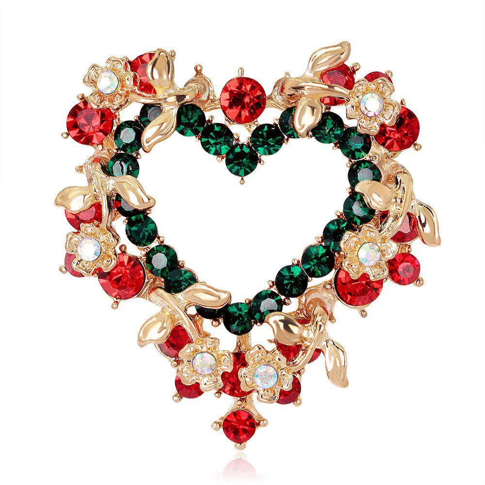 New Christmas Gift Heart - Shaped Wreath Brooch