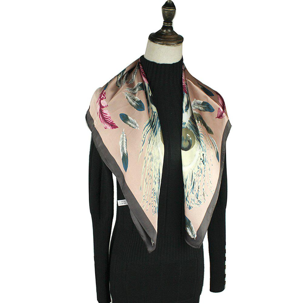 Latest Lady's Temperament Scarves Feather Pattern  Real Silk Scarf