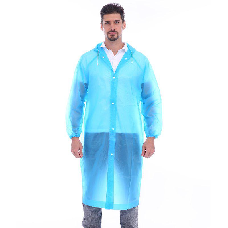 Latest Adult lightweight PEVA raincoat with elastic sleeves and drawstring hoods