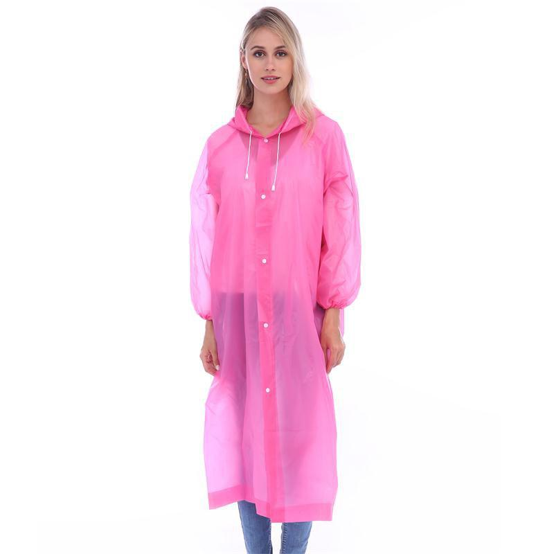 Store Adult lightweight PEVA raincoat with elastic sleeves and drawstring hoods