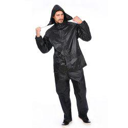 Black Adult Polyester Rain Suit Motorbike Raincoat with Reflective Article -