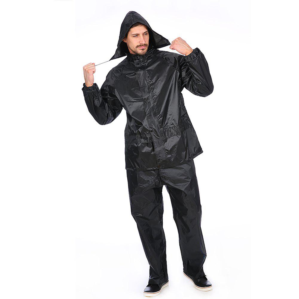 Best Black Adult Polyester Rain Suit Motorbike Raincoat with Reflective Article