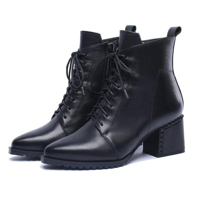 Automne BootStrap Boot TipThickBootWith AnkleBootWomen's Ieather Midso