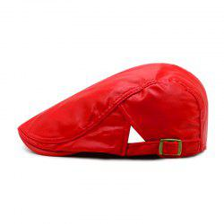 Beret men's spring and autumn winter simple leather forward cap + adjustable for -