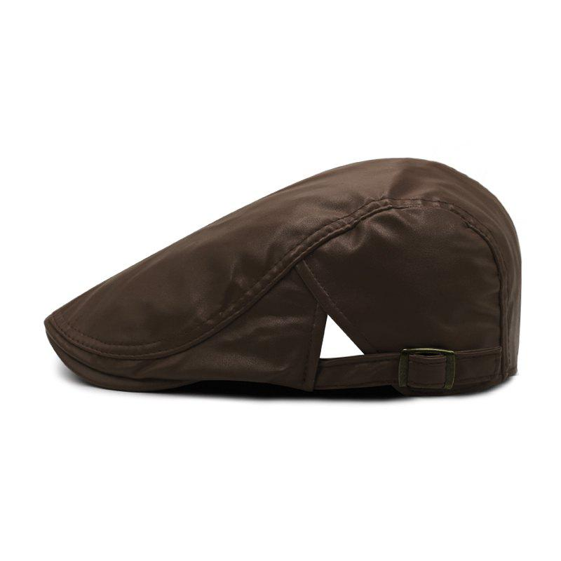 Chic Beret men's spring and autumn winter simple leather forward cap + adjustable for