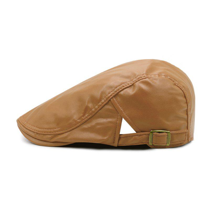 Latest Beret men's spring and autumn winter simple leather forward cap + adjustable for