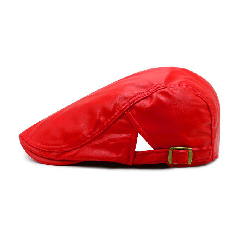 Hot Beret men's spring and autumn winter simple leather forward cap + adjustable for