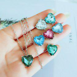 Fashion Crystal Jewelry Sets Colorful Heart Necklace Pendant Earrings Party Gift -