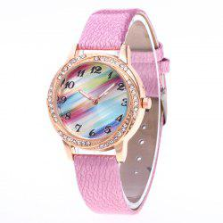 New Fashionable Lady personality Rainbow Dial Leisure Wristwatch -