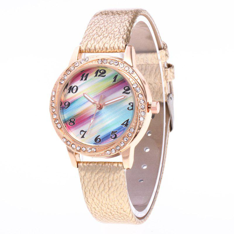 Shops New Fashionable Lady personality Rainbow Dial Leisure Wristwatch