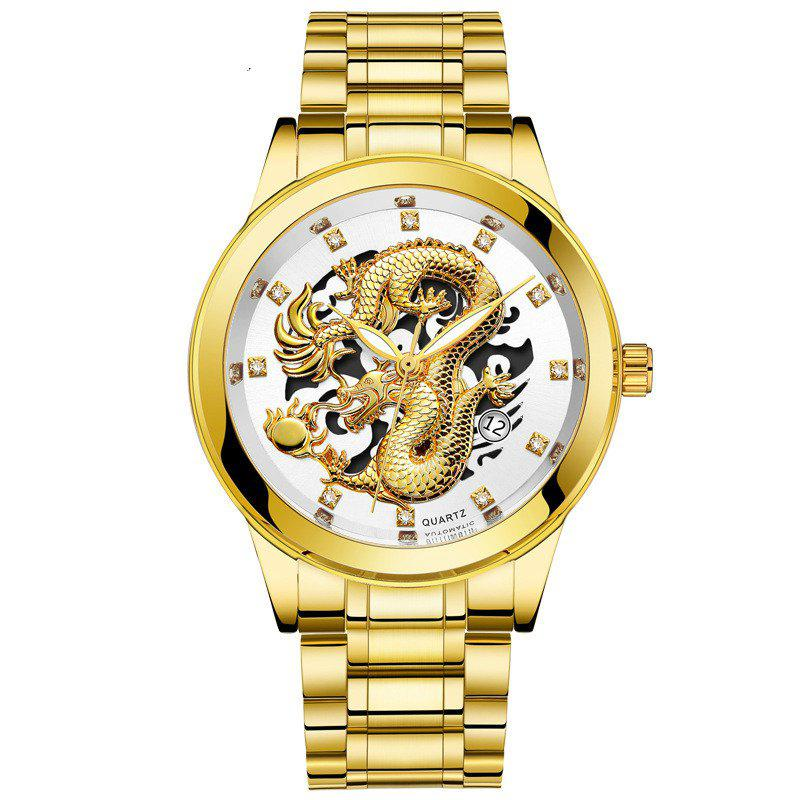 New Men Atmospheric Golden Dragon Dial Fashion Business Steel Band Calendar Watch