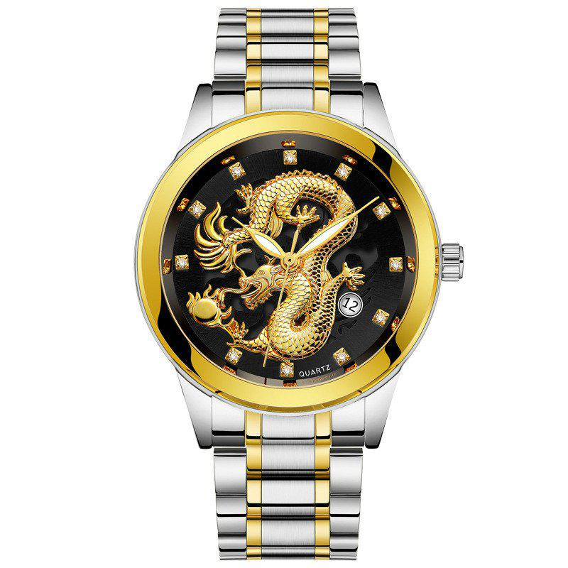 Shop Men Atmospheric Golden Dragon Dial Fashion Business Steel Band Calendar Watch