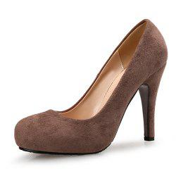Round Head High Heels Suede Large Size Women'S Shoes Shallow Mouth Women'S Shoes -