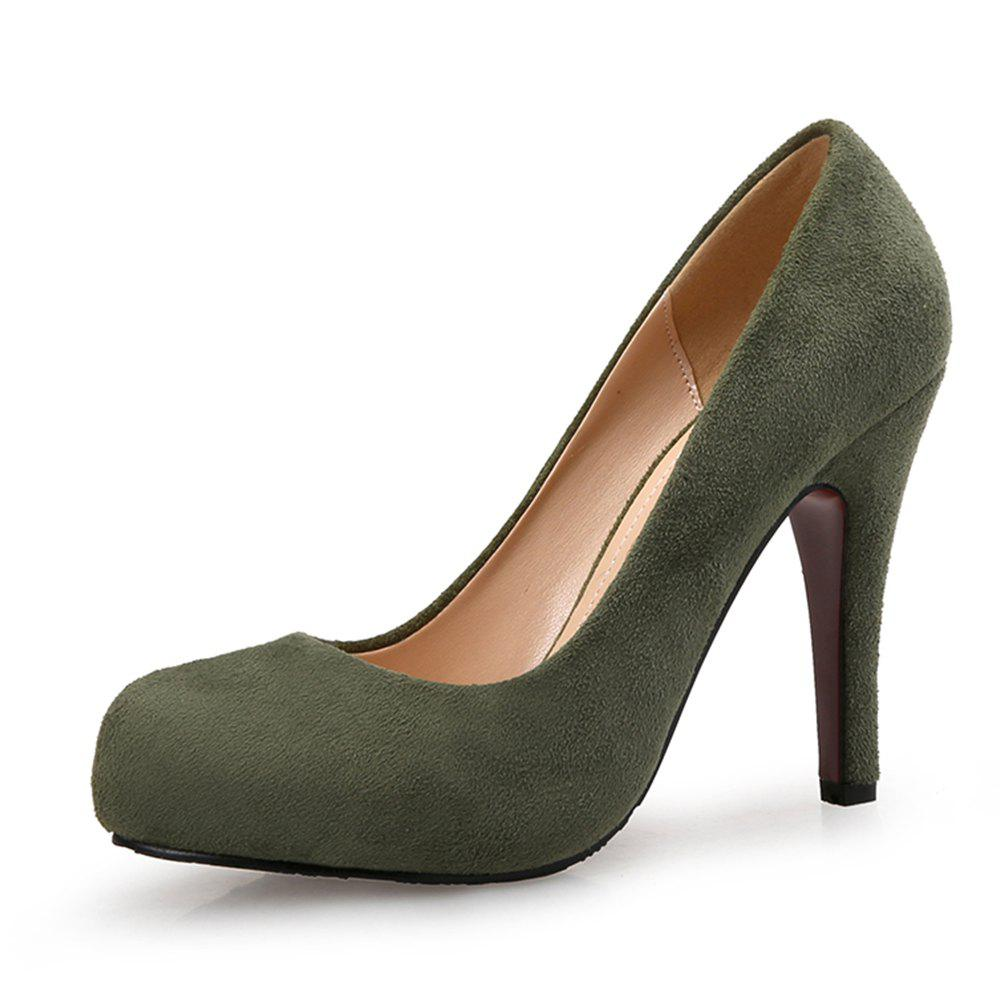 Discount Round Head High Heels Suede Large Size Women'S Shoes Shallow Mouth Women'S Shoes