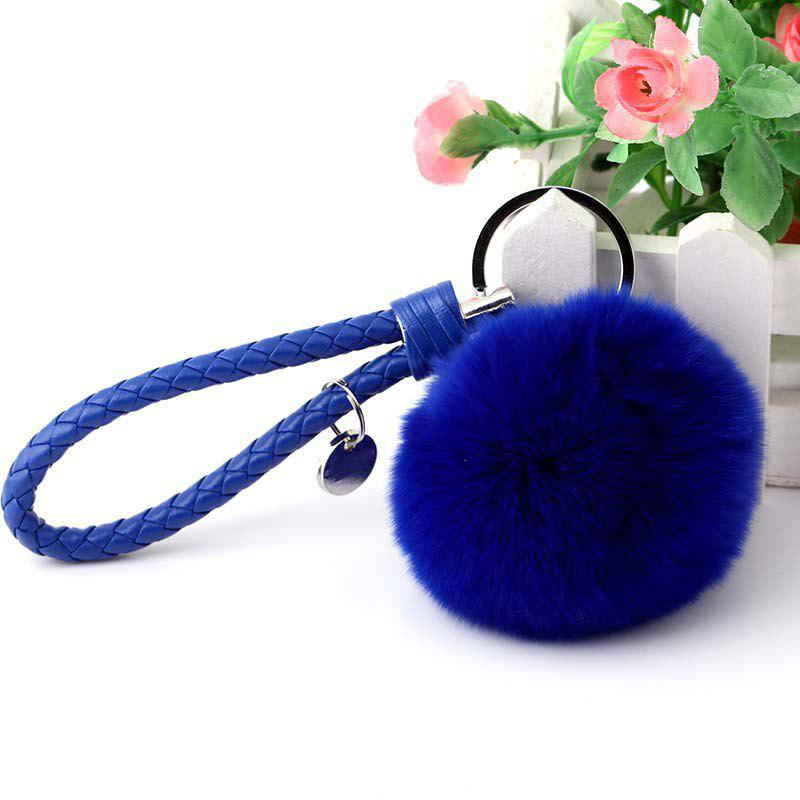 Shop Bag Pendant Wool Ball Woven Leather Rope Car Key Chain