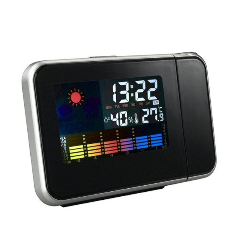 Chic Digital Projection Alarm Clock Weather Multi Function Desk Table Alarm LED Wall
