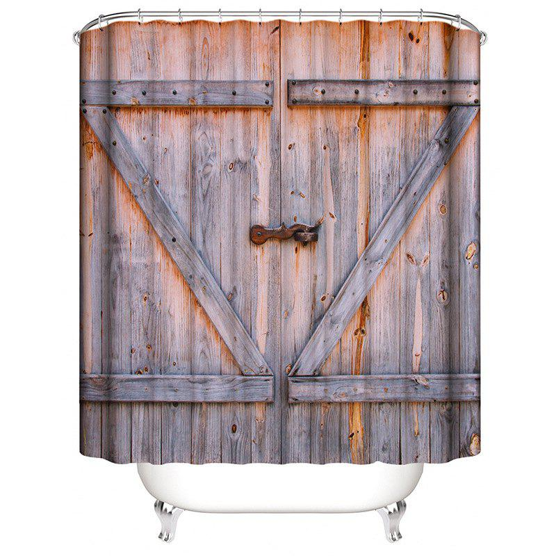 Store Old Wooden Door 3D Digital Printing Waterproof Mildew Shower Curtain