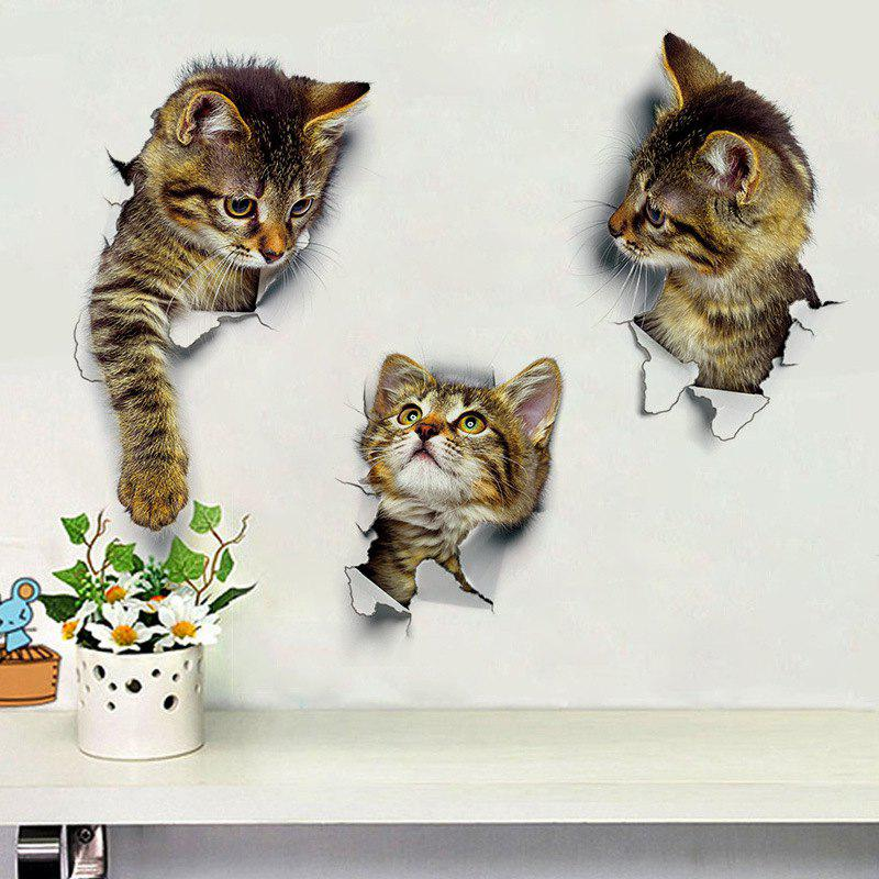 Outfit 3PCS Cat Wall Stickers Decoration 3D Bathroom Toilet Stickers DIY